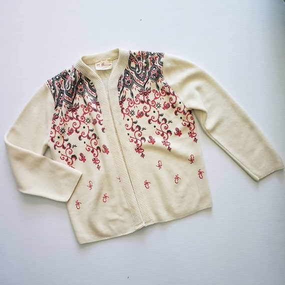 50s Sweater Set Cardigan and Shell / Small / Ivory