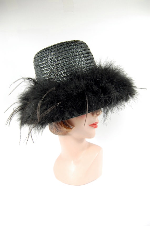 1950s Black Straw Feathered Sun Hat Beach Hat Late