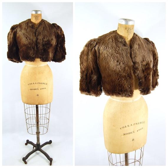 1930s Cropped Fur Bolero Jacket / 34 36 bust / Sho