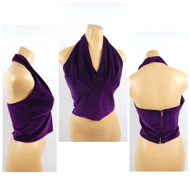 amethyst jewel tone Cotton Velvet Open Back Deep V 40s 50s Purple Velvet Halter Top  35-38 bust  McArthur Ltd Late 1940s early 1950s