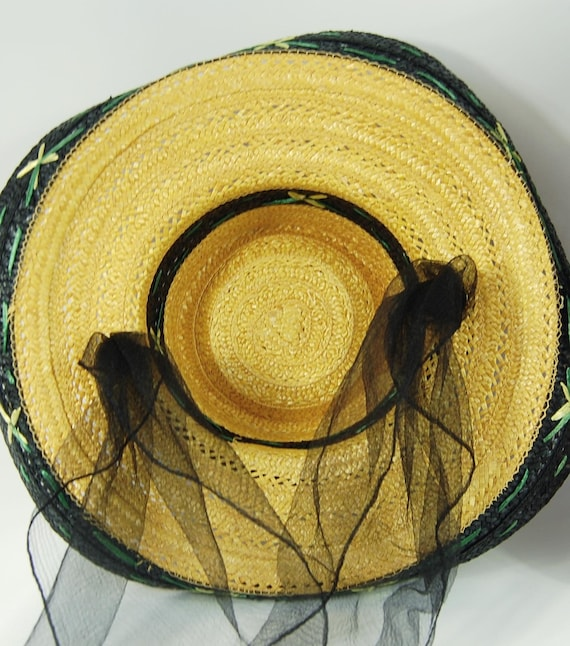 1950s Kitschy Straw Sun Hat / Wide Brimmed Natura… - image 5