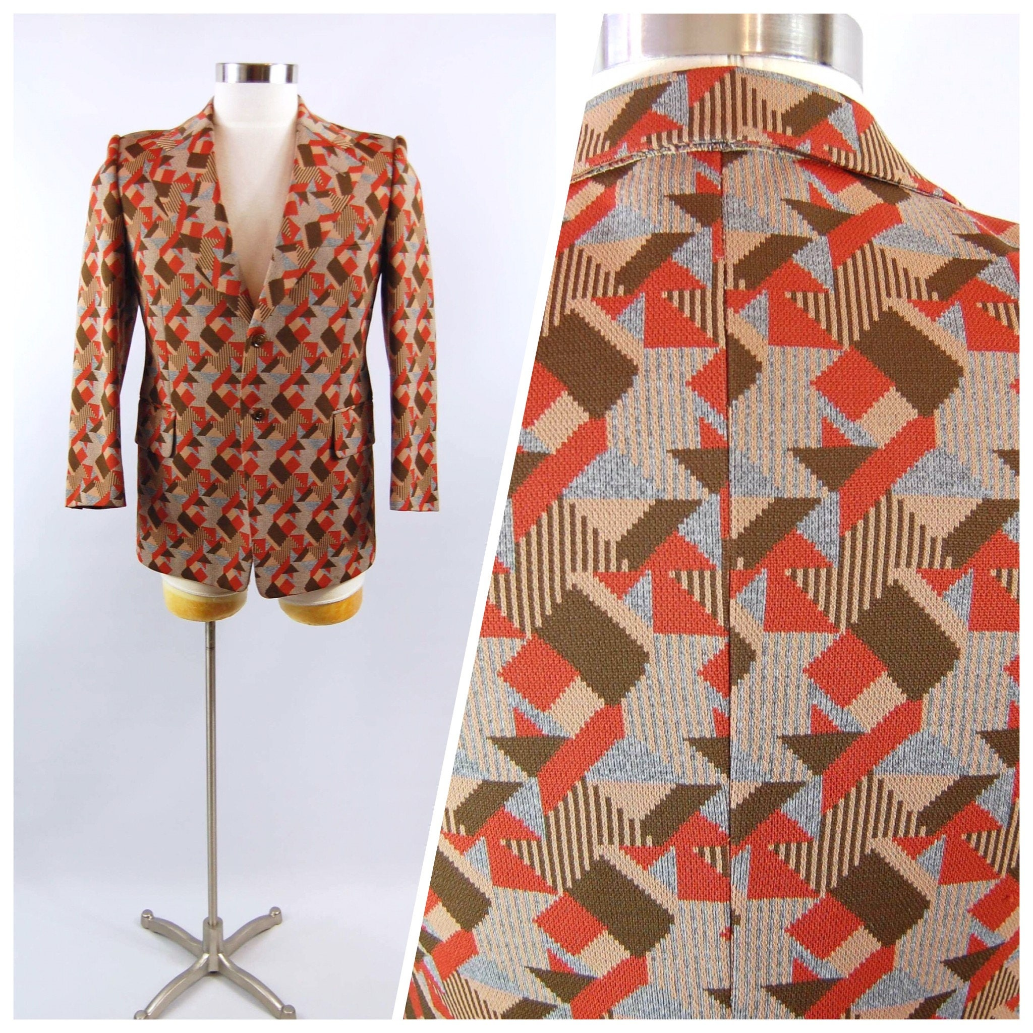 70s Bold Print Sport Coat Small Short Browns And Grey Etsy