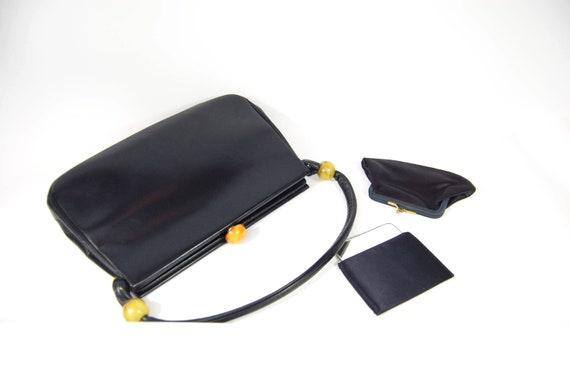 40s 50s Navy Blue Leather Handbag - Structured Fra