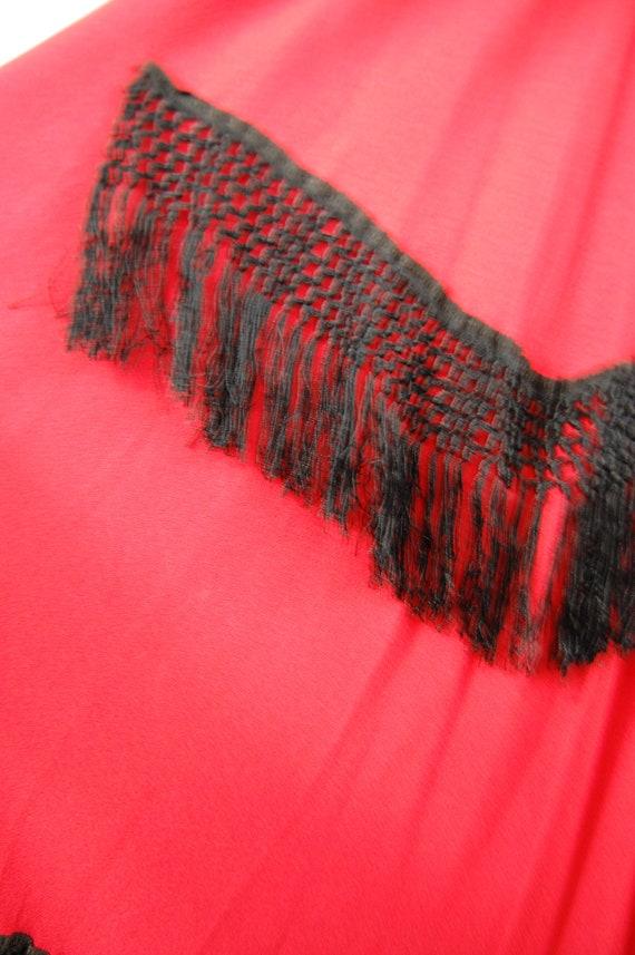 40s Fringe Trimmed Crepe Gown // 28 Waist // Red … - image 9