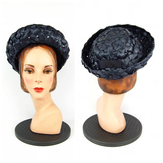 Early 60s Navy Blue Hat Cellophane Straw hat Mid … - image 1