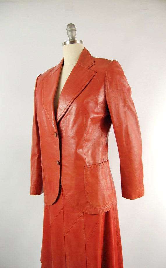 70s Orange Leather Suit / 30 Waist / Horst Burnt … - image 3
