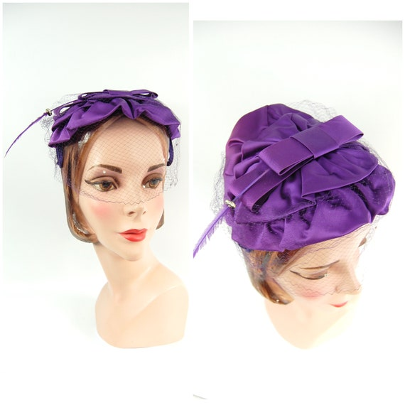 50s Purple Satin Veiled Hat with Feather Accent -