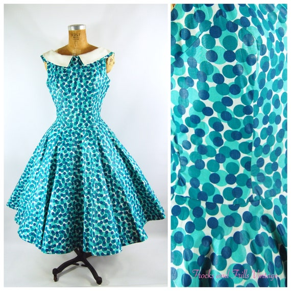 1950s Teal and Turquoise Full Skirt Dress / waist