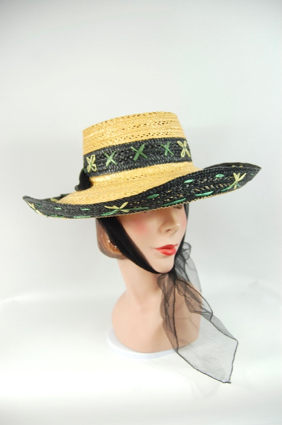1950s Kitschy Straw Sun Hat / Wide Brimmed Natura… - image 2
