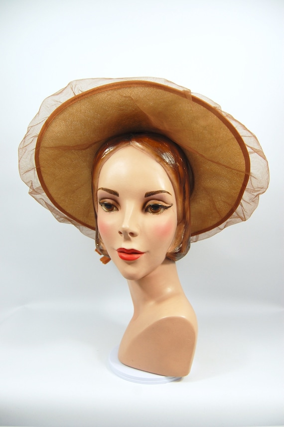 40s 50s Wide Brimmed Straw Picture Hat / Norman Du
