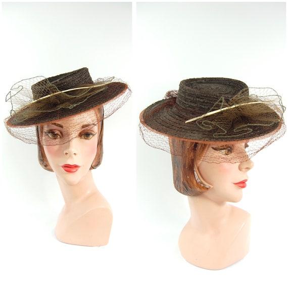 30s 40s Straw Tilt Hat / Spring Late 1930s Summer