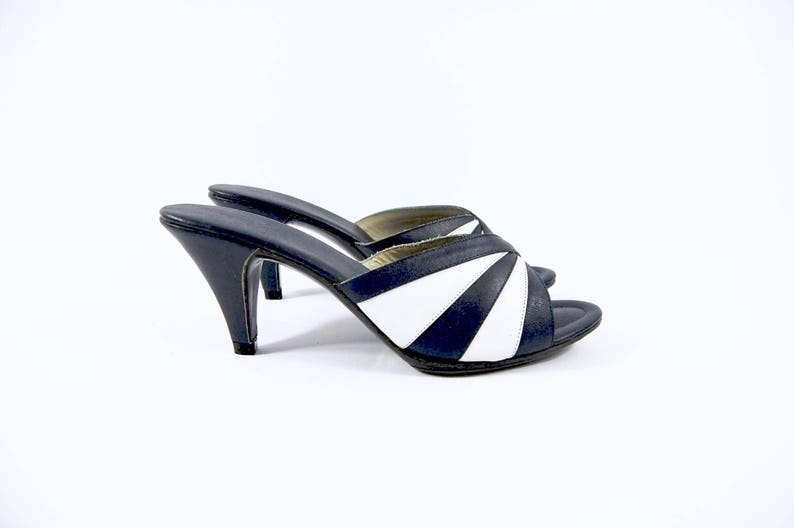 NOS 50s 60s Navy Striped Heels // Size 5 // Backless Late 50s Mules  Deadstock Unworn Shoes Cha Cha Pumps Slippers Bad Girl Striped Pumps