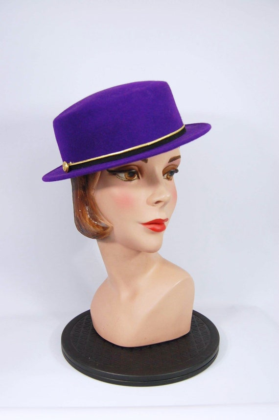 bab849e52 80s 90s Purple Flat Crown Hat / Black and Gold Banded Crown / Small Brim  Late 1980s Early 1990s Ladies Boater Style Hat - Caberet Prince