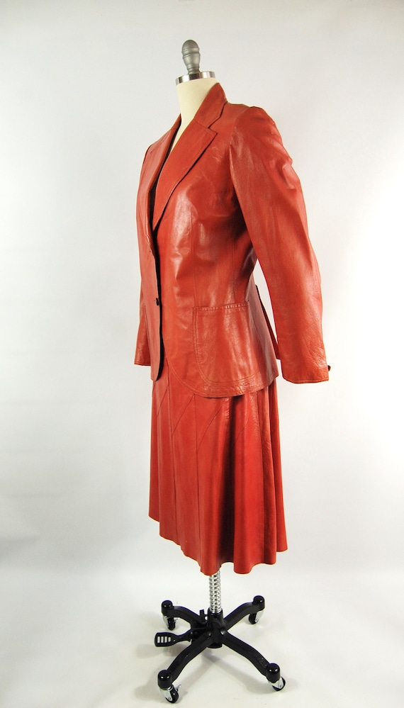 70s Orange Leather Suit / 30 Waist / Horst Burnt … - image 2