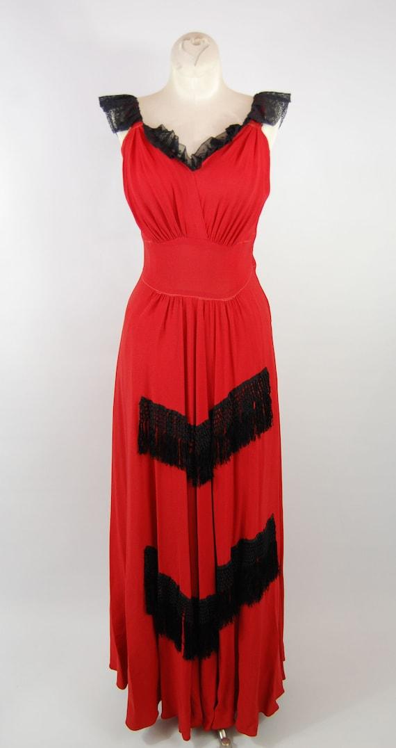 40s Fringe Trimmed Crepe Gown // 28 Waist // Red … - image 6