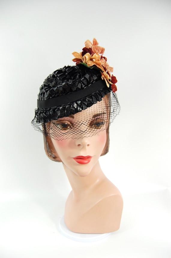 1930s Spring Summer Hat / Black 30s Straw Celloph… - image 2