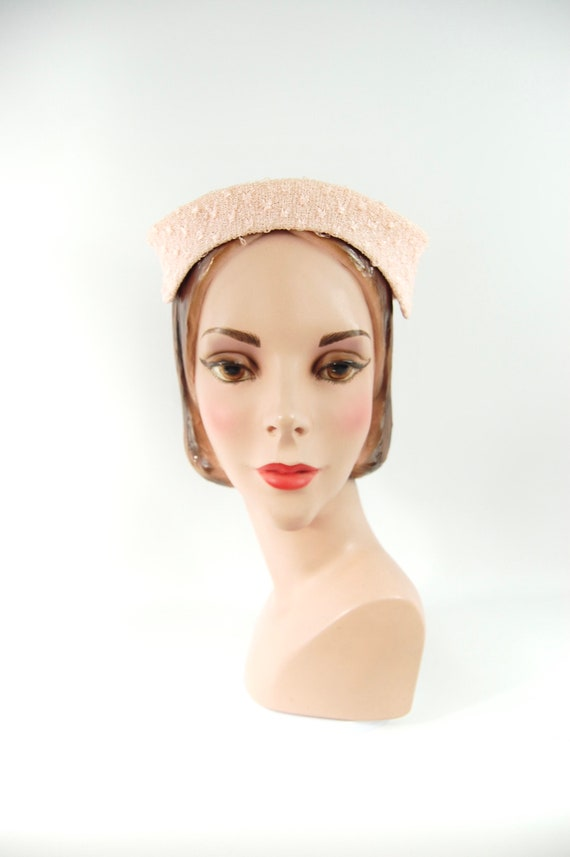 1950s Pink Hat / Face Framing Small Brimmed Hat P… - image 7