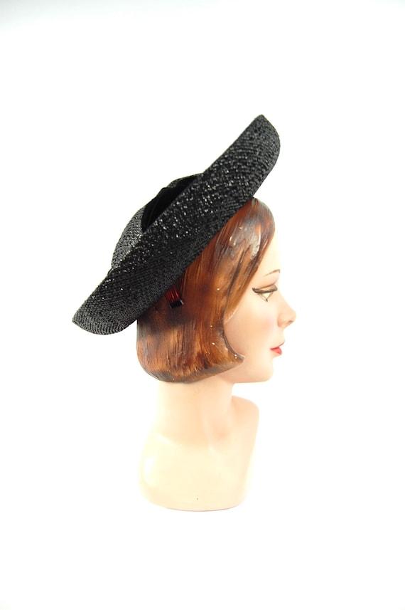 1960s Wide Brimmed Hat / Black Straw Upturned Bri… - image 3