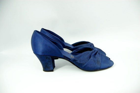 30s 40s Blue Satin Daniel Green Slippers / Size 6