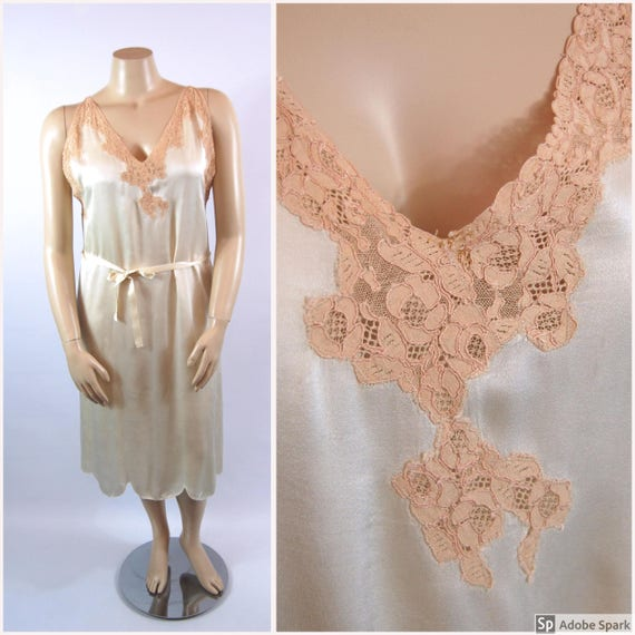20s 30s Silk Night Gown / Volup 40 bust / Ivory an
