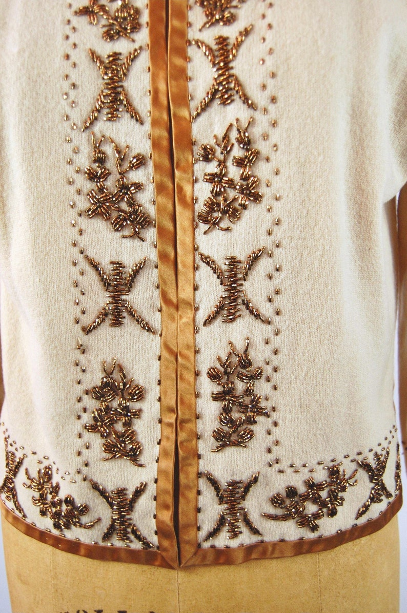 50s 60s Copper Beaded Cardigan Sweater  Size 40  Beaded Sweater Round Neck Collarless Early 1960s Brown Beaded Tan Wool Cardigan