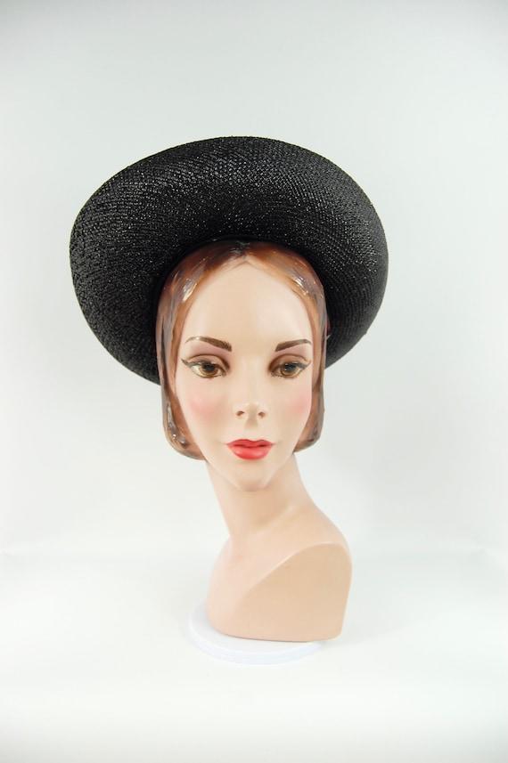 1960s Wide Brimmed Hat / Black Straw Upturned Bri… - image 4