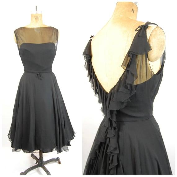 50s Frank Starr Little Black Dress / 35 Bust / Ruf