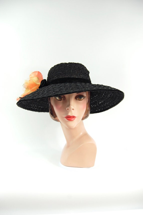 50s 60s Black Straw Wide Brimmed Hat / Black Summe