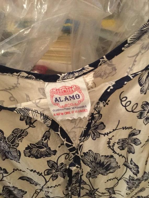 50s Bold Floral Cotton Dress / 24 Waist / Tea len… - image 7