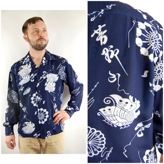 40s 50s Mens Novelty Lounge Shirt / Large / Blue R