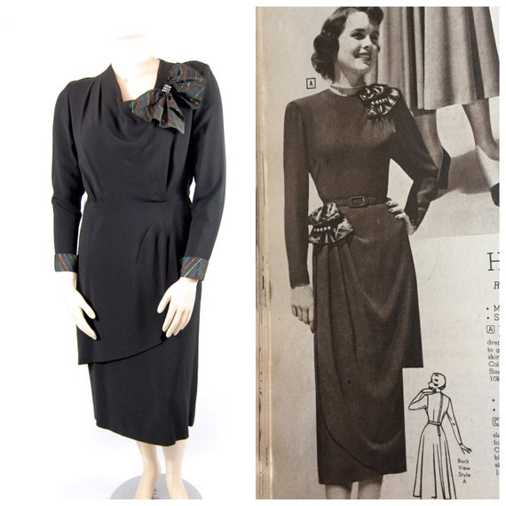 40s Volup Black Rayon Dress // 44 Bust Hips // Rai