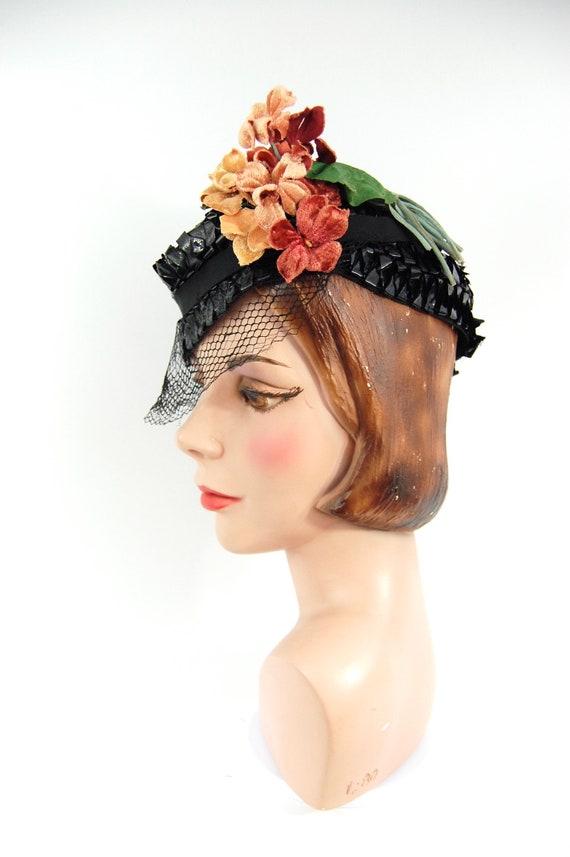 1930s Spring Summer Hat / Black 30s Straw Celloph… - image 8