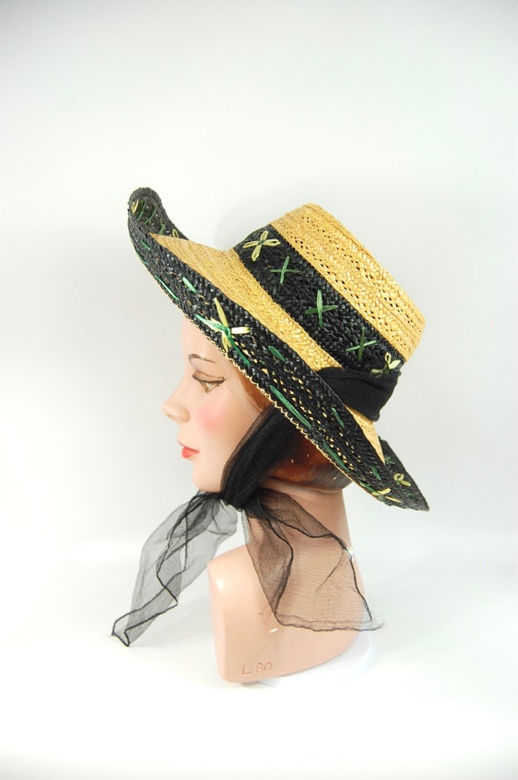 1950s Kitschy Straw Sun Hat / Wide Brimmed Natura… - image 4