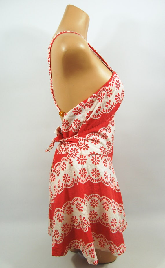 40s Red White Patterned Cotton Playsuit / / 40s B… - image 2