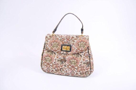 60s Large Tapestry Handbag - Carpet Bag - Colorful