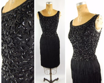 50s Fringe Cocktail Dress / 24 25 Waist  / Jr Theme 50s 60s Wiggle Dress Flapper Style  - Sequins Bodice Cocktail Formal Homecoming Dress