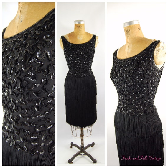 50s Fringe Cocktail Dress // 24 25 Waist  // Jr Th