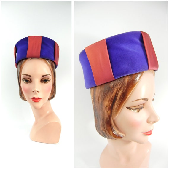 1960s Purple Velvet Pillbox Hat - Early to Mid 196
