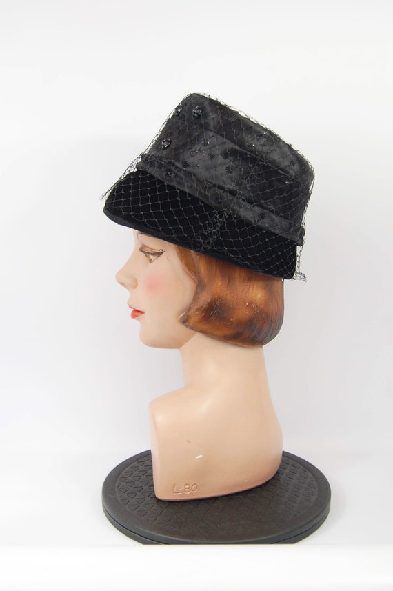 ac0a9e59e9c17 60s Black Bucket Hat   High Crown Beehive Hat Black Satin and