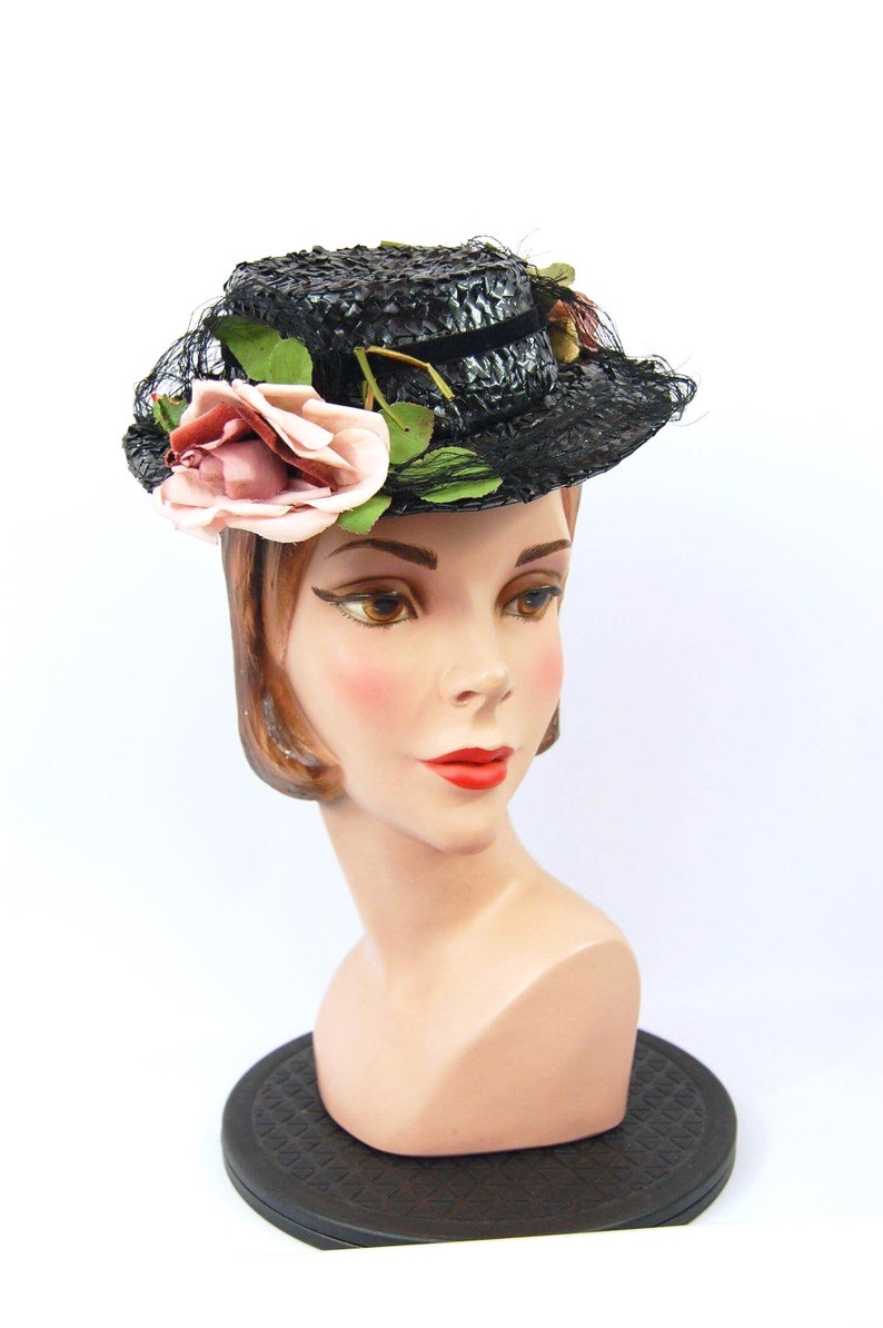c0ebe787127 Late 30s Topper Hat   Marche Hats NY Pink and Black 40s Toy