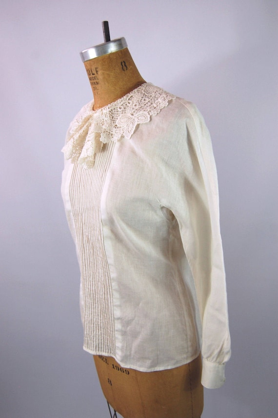 30s White Cotton Blouse // 34 Bust // 40s Ruffled… - image 4