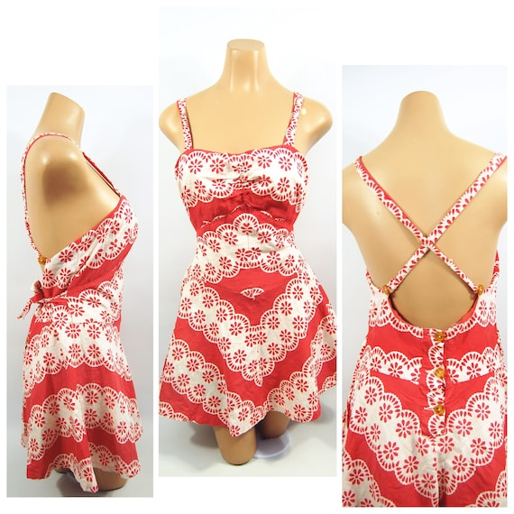 40s Red White Patterned Cotton Playsuit / / 40s B… - image 1
