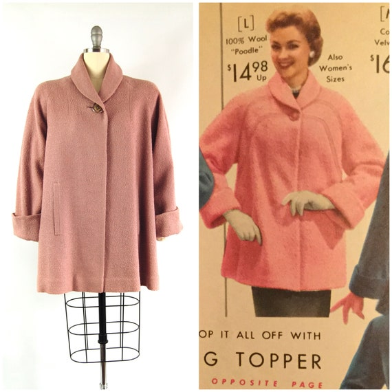 Early 1950s Dusty Rose Coat / 38 - 42 Bust / Short
