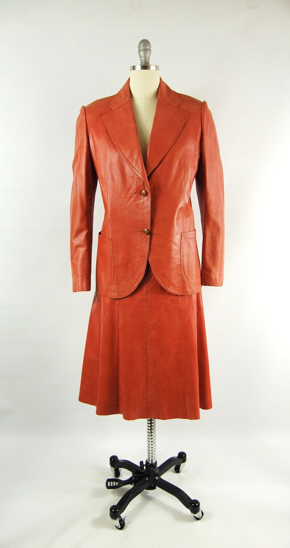 70s Orange Leather Suit / 30 Waist / Horst Burnt … - image 4