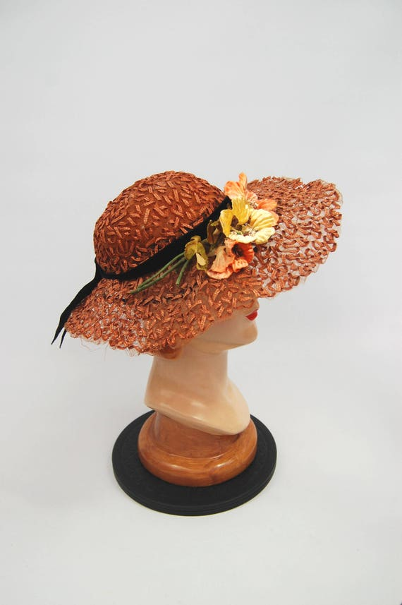 40s Woven Straw hat - Wide Brimmed Burnt Orange Fl