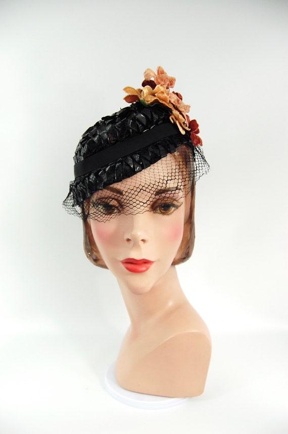 1930s Spring Summer Hat / Black 30s Straw Celloph… - image 5