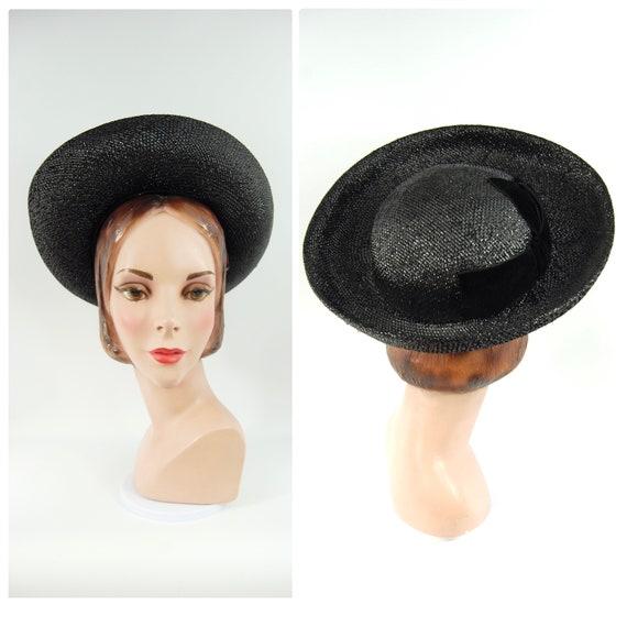 1960s Wide Brimmed Hat / Black Straw Upturned Bri… - image 1