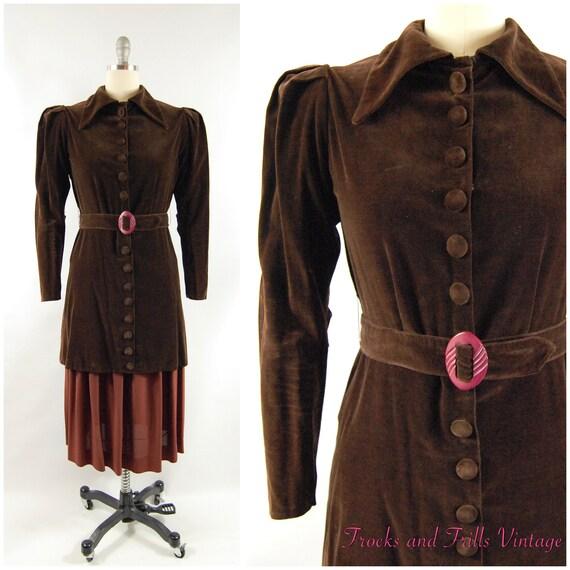 30s Brown Cotton Velvet Crepe Dress / 28 - 29 Wai… - image 1
