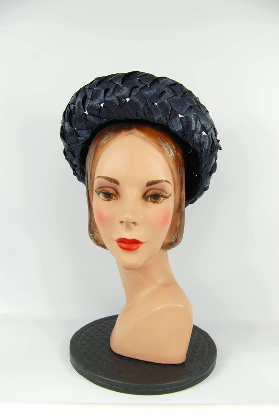 Early 60s Navy Blue Hat Cellophane Straw hat Mid … - image 5