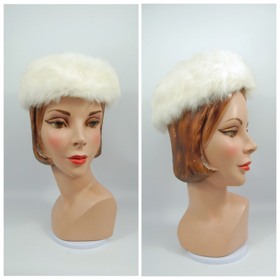 50s 60s White Rabbit Fur Pillbox Hat - 50s Early 1